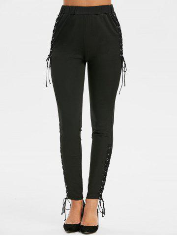 Lace-up Side Skinny High Waisted Pants