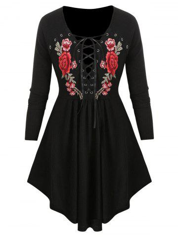 Plus Size Lace Up Embroidery Tunic Knitwear