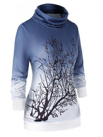 Plus Size Cowl Neck Tree Ombre Sweatshirt - LAPIS BLUE - 4X