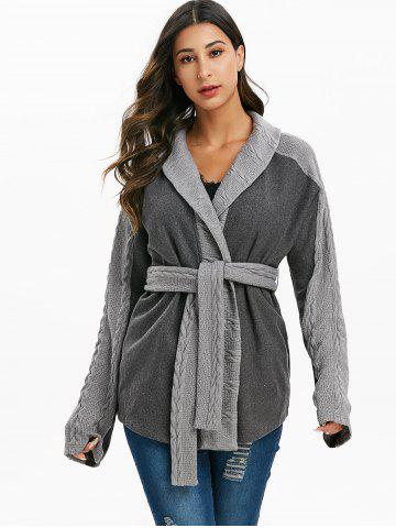 Heathered Belted Cable Knit Trim Coat