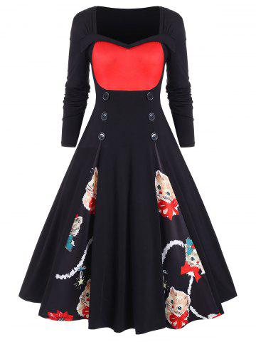 Plus Size Christmas Printed Vintage Swing Dress - RED - 4X