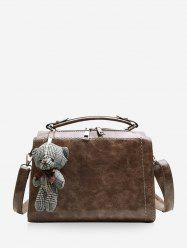 Bear Pendant Leather Crossbody Handbag -