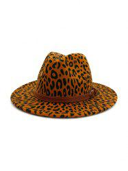 Winter Leopard Belt Felt Jazz Hat -