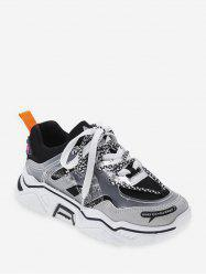 Snakeskin Panel Mix Material Casual Sneakers -