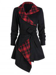 Asymmetric Plaid Wool Coat -