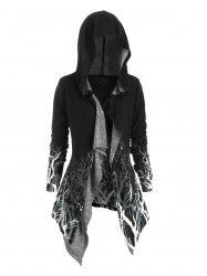 Tree Print Hooded Longline Cardigan -