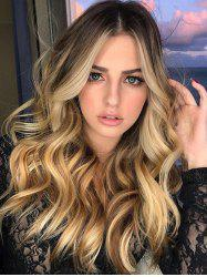 Center Part Long Wavy Synthetic Ombre Wig -
