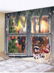 3d Digital Print Christmas Tree Snow Window Tapestry -