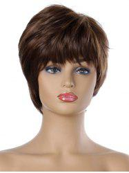Natural Straight Short Side Bang Synthetic Wig -