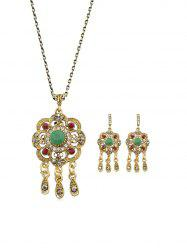 Retro Faux Gemstone Pendant Necklace And Earrings Set -
