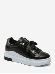 Faux Pearl Embellished Low Top Platform Sneakers -