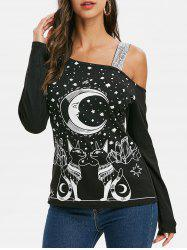 Moon Cat Graphic Sequined Long Sleeves Tee -