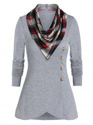 Long Sleeve Button T Shirt with a Cowl Neck -