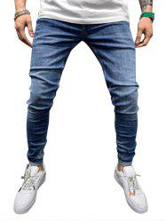 Solid Color Design Drawstring Jeans -