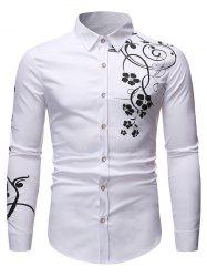 Floral Print Long Sleeve Slim Fit Button Shirt -
