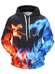 Flame Cartoon Print Hoodie -