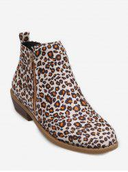 PU Leather Stacked Low Heel Ankle Boots -