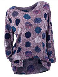 Plus Size Long Sleeve Dotted T-shirt -