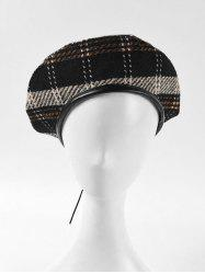 Plaid Pattern Winter Flat Beret Hat -