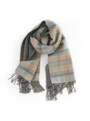 Plaid Fringe Double-sided Long Scarf -