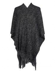Solid Fringed Metallic Split Shawl -