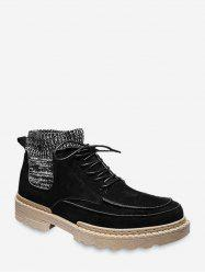 Faux Suede Patch Sock Cargo Boots -