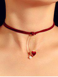 Heart Faux Pearl Rope Pendant Choker Necklace -