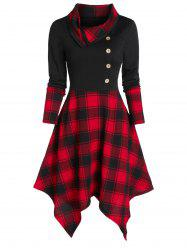 Plaid Print Mock Button Handkerchief Dress -