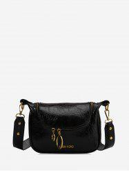 PU Leather Zipper Embellished Shoulder Bag -