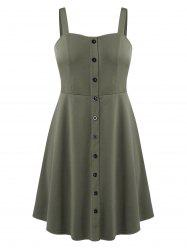 Sweetheart Collar Fit And Flare Button Down Dress -