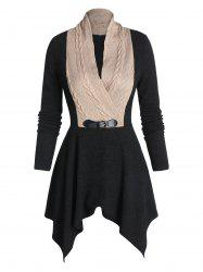 Cable Knit Low Cut Buckle Sweater -