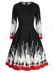 Reindeer Snowflake Christmas Long Sleeves Dress -