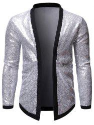 Sequins Contrast Trim Spliced Open Front Club Jacket -