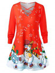 Plus Size Snowmen Print Criss Cross Christmas T-shirt -