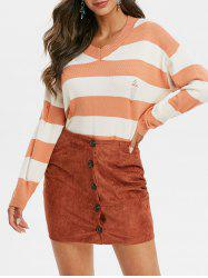 Striped Ripped V Neck Sweater -