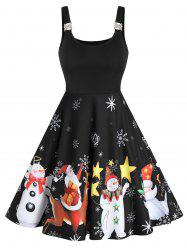 Christmas Santa Claus Snowman Print Sleeveless Skater Dress -