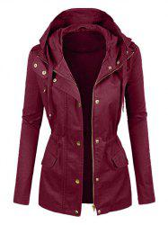 Plus Size Drawstring Hooded Full Zip Coat -