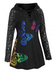 Raglan Sleeve Lace Panel Butterfly Lace Up Plus Size Hoodie -