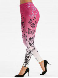 Ombre Color Musical Notes Butterfly Print Leggings -