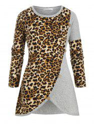 Crew Neck Buttoned Leopard Panel Plus Size Knitwear -