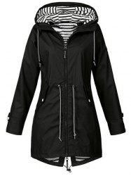 Plus Size Striped Full Zip Drawstring Coat -