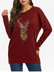Sequined Reindeer Christmas Sweatshirt with Pockets -