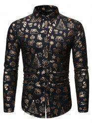 Christmas Pattern Allover Print Long Sleeve Button Shirt -