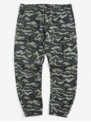 Plus Size Camouflage Print Multi Pockets Cargo Jogger Pants -