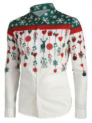 Christmas Cartoon Decorations Print Button Up Shirt -