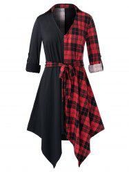 Plus Size Plaid Handkerchief Belted Roll Tab Sleeve Tunic Blouse -