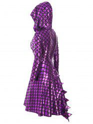 High Low Long Sleeve Shiny Mermaid Scales Print Plus Size Dress -