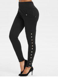 High Rise Pocket Snap Button Leggings -