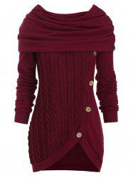 Cowl Neck Cable Knit Tunic Knitwear -