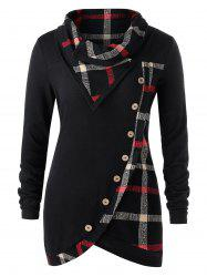 Plus Size Skew Button Plaid Spliced Tulip Front T-shirt -